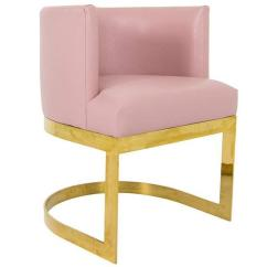 Accent Dining Chairs Televue Air Chair Review In Blush Pink Faux Leather With Curved Brass Base For Sale