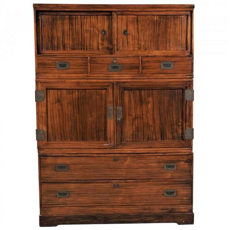 Vintage Exotic Wood Japanese Cabinet or Storage Chest at