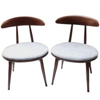 Pair of Mid-Century Upholstered Wood Chairs by Heywood ...