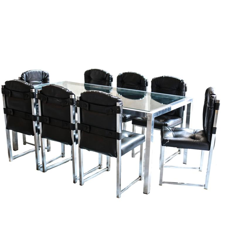 Vintage Chrome Glass Dining Table and Chairs by Virtue