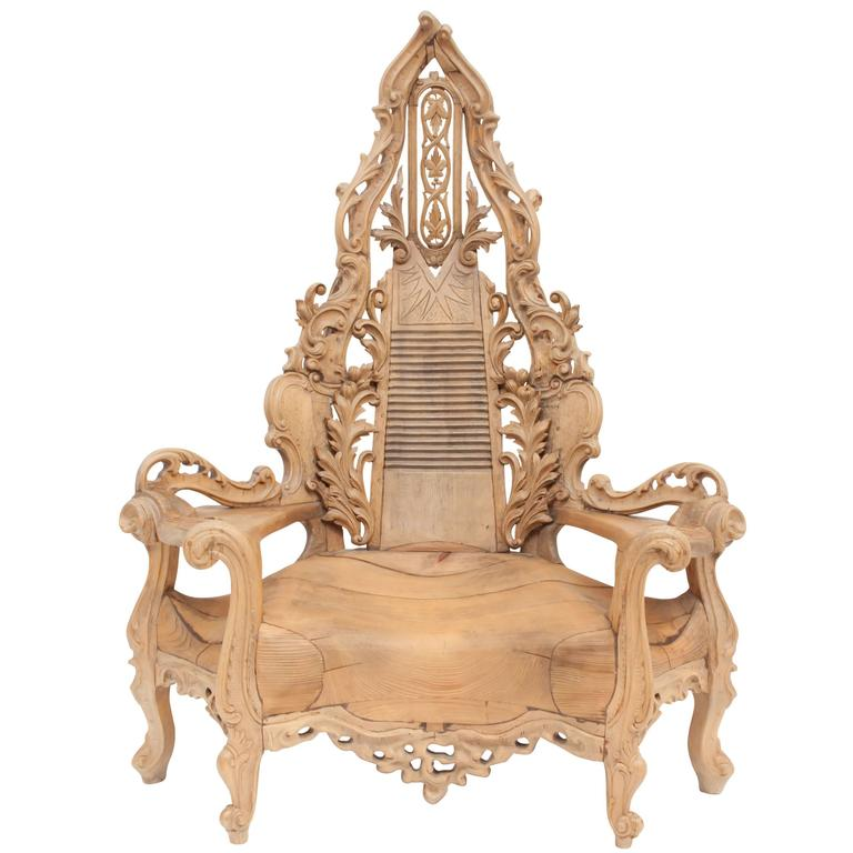 throne chair cover recliner riser chairs for the elderly french ornamental wooden at 1stdibs sale