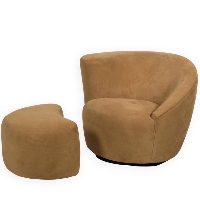 swivel club chair with ottoman phoenix company vladimir kagan nautilus corkscrew and