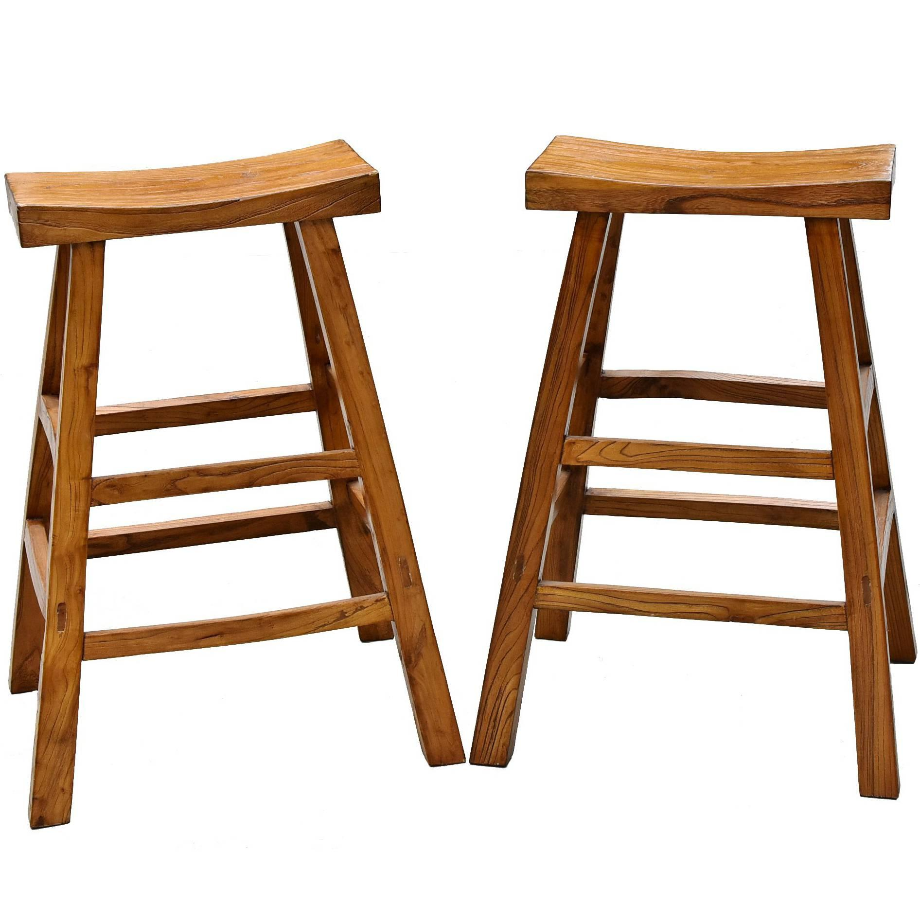 Wood Bar Chairs Pair Of Asian Solid Elm Wood Bar Stools
