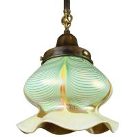 Pulled Feather Steuben Shade on Pendant For Sale at 1stdibs