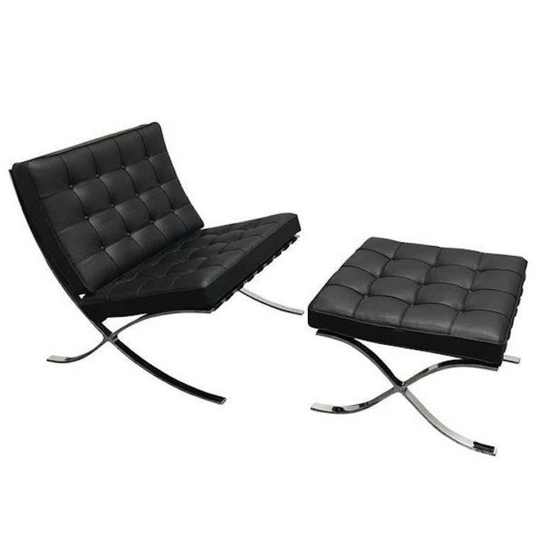 mies van der rohe barcelona chair freedom task with headrest ludwig and ottoman at 1stdibs for sale