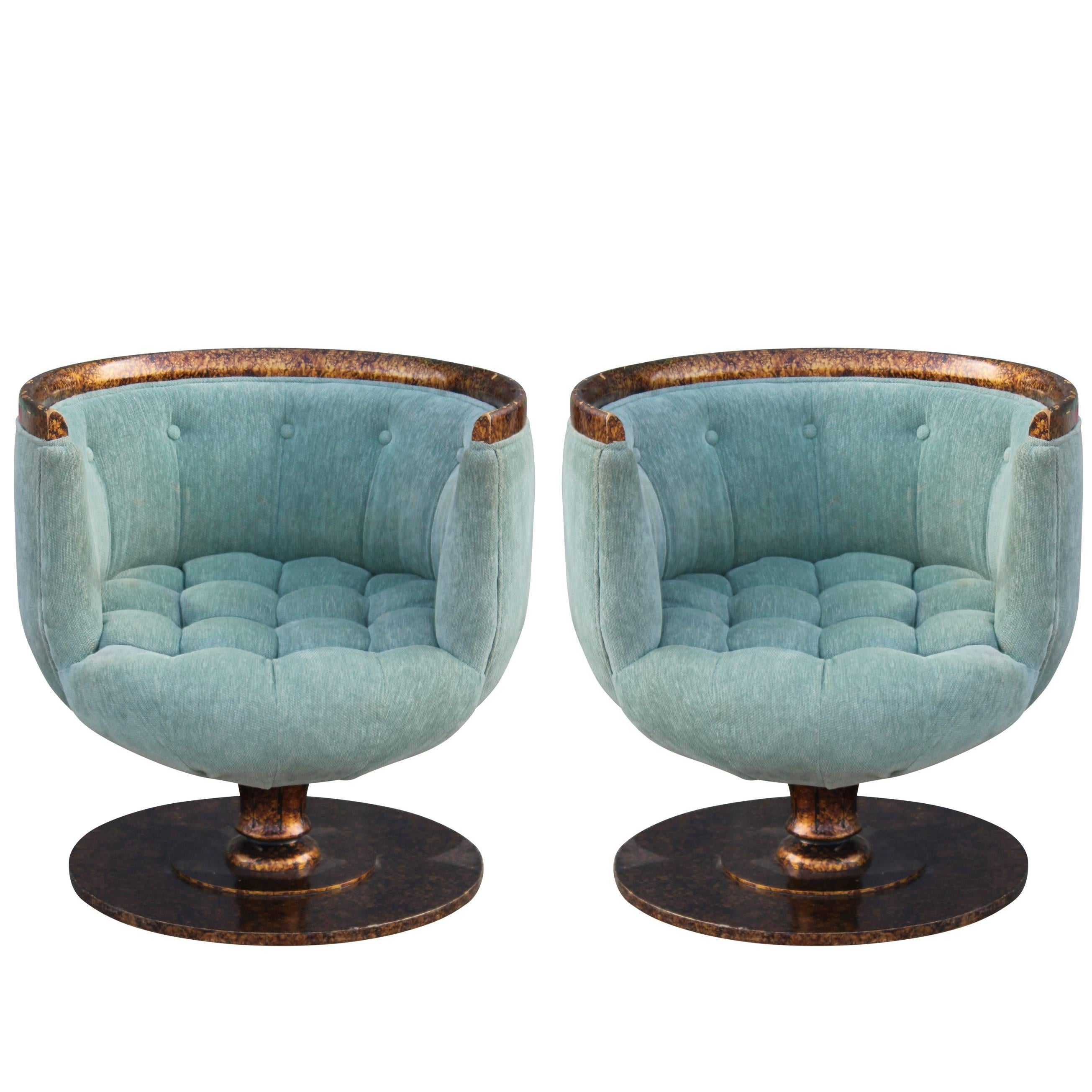 Pedestal Chair Pair Of Modern Barrel Back Swivel Pedestal Chairs In Blue With Tortoise Finish