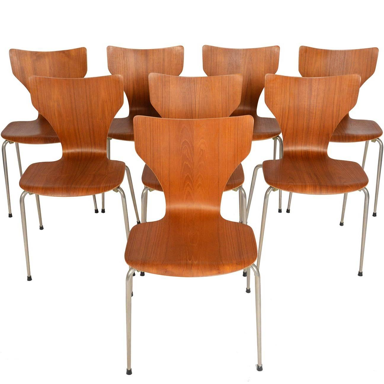 Stacking Dining Chairs Set Of Eight Danish Modern Teak Stacking Dining Chairs