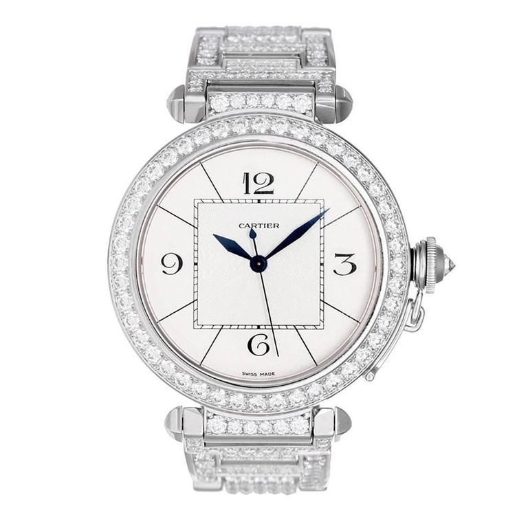 Cartier Pasha Lady's White Gold Diamond Automatic