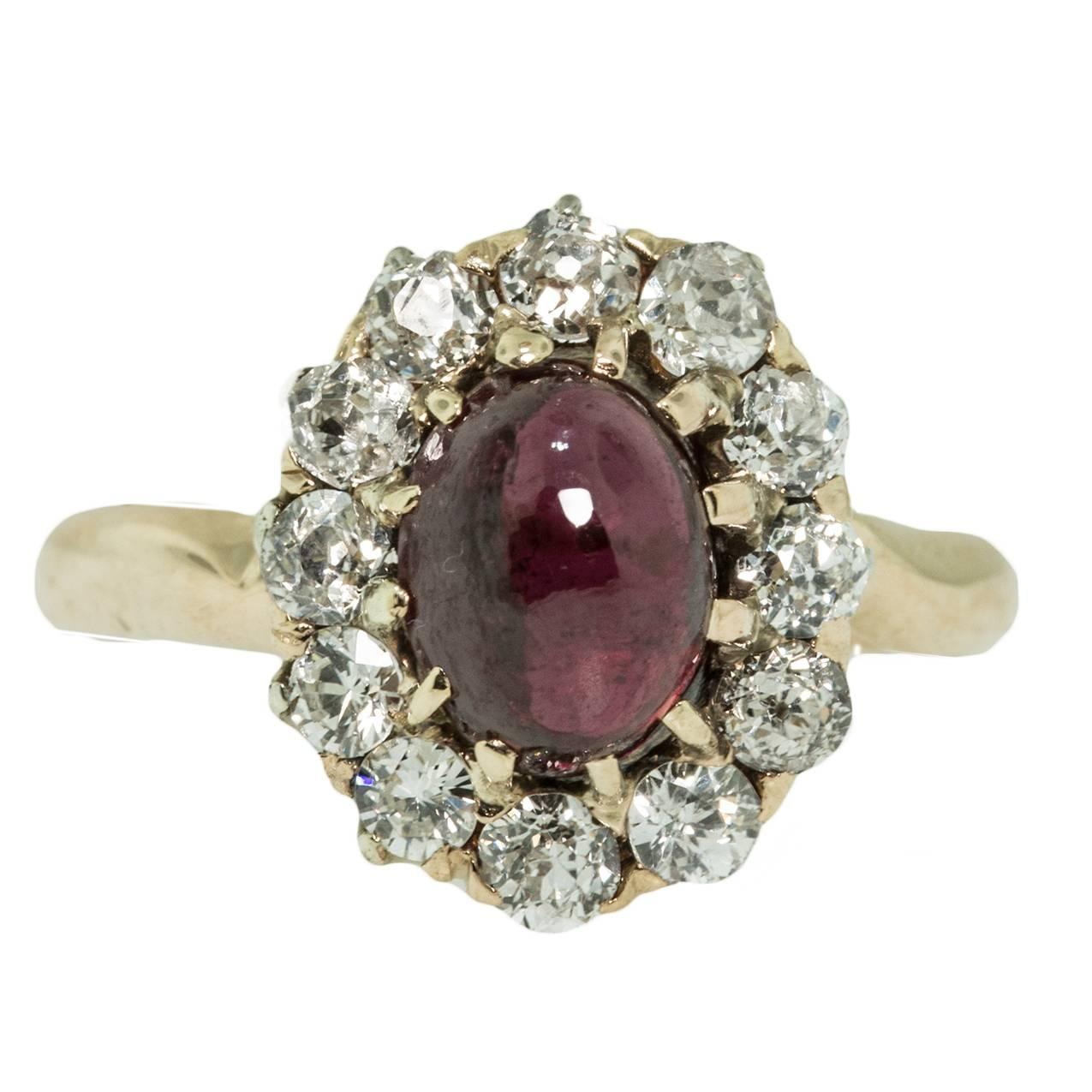 Antique Garnet Diamond Gold Ring For Sale at 1stdibs