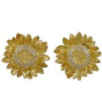 Asprey Diamond Gold Sunflower Earrings For Sale at 1stdibs