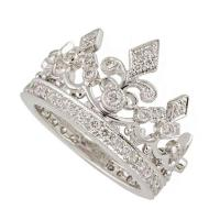 Garrard Diamond White Gold Crown Ring For Sale at 1stdibs