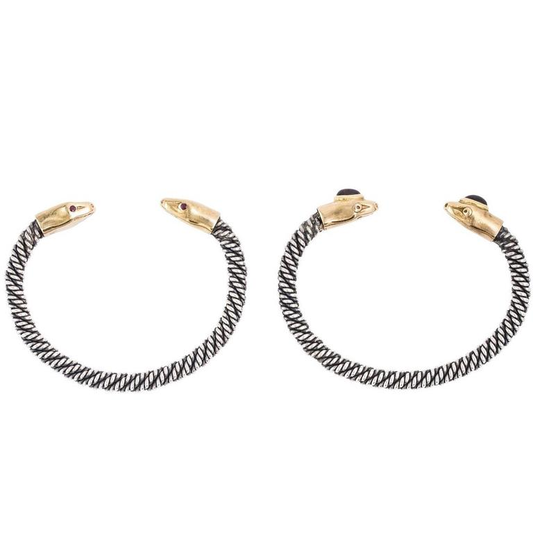 Pair of Gold and Sterling Serpent Bangles at 1stdibs