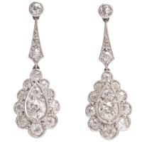 Edwardian 2 Carat Diamond Drop Platinum Earrings at 1stdibs