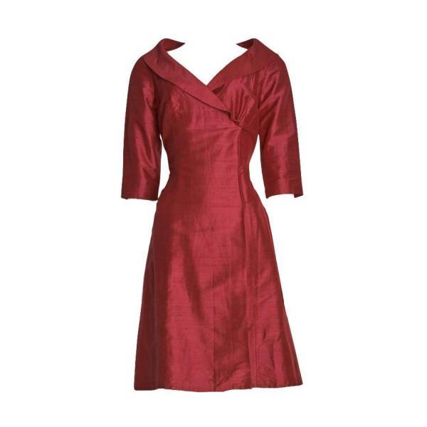1960' Claret Raw Silk Mini Wrap Dress 1stdibs