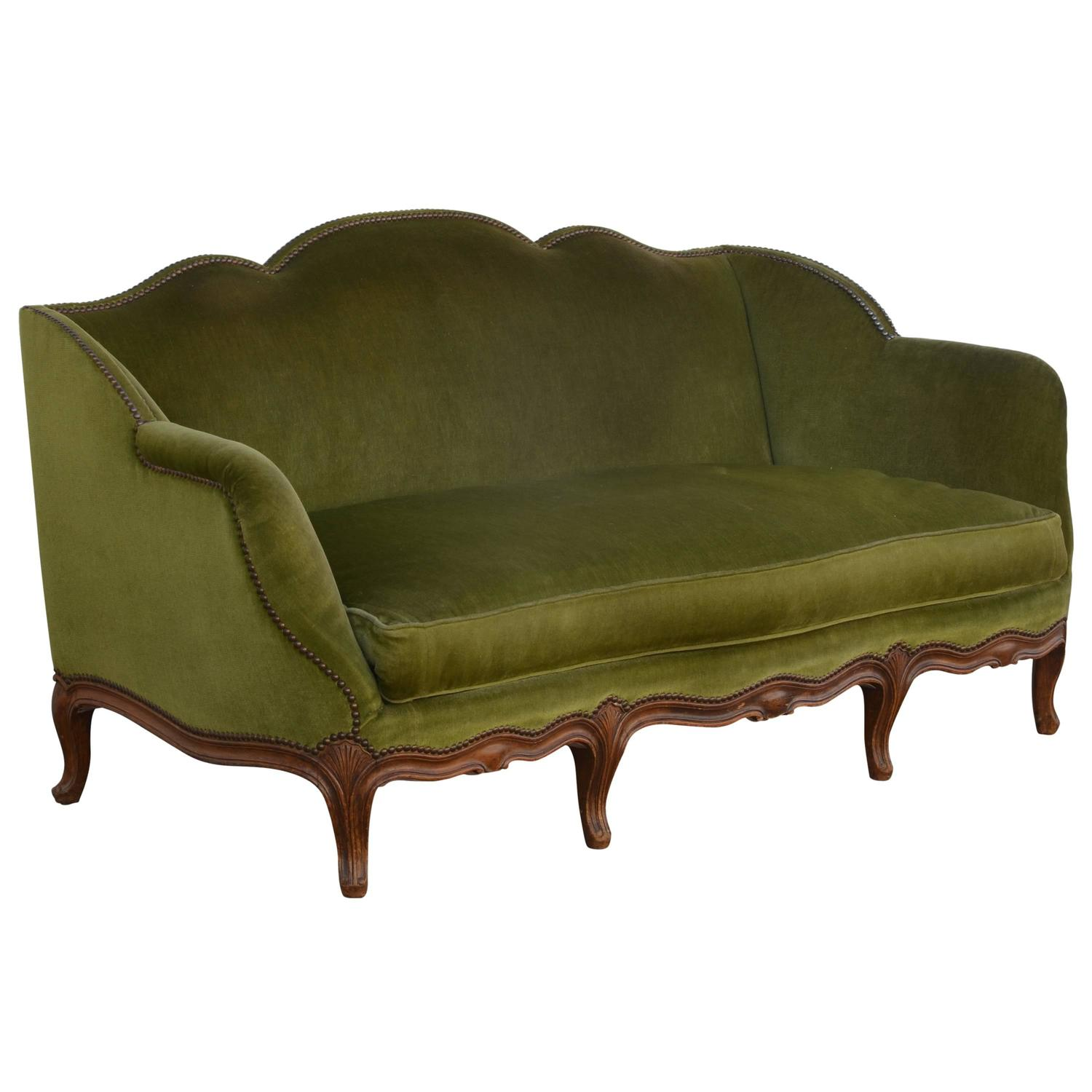 french velvet chair folding table and elegant 1940s louis xv style green sofa for