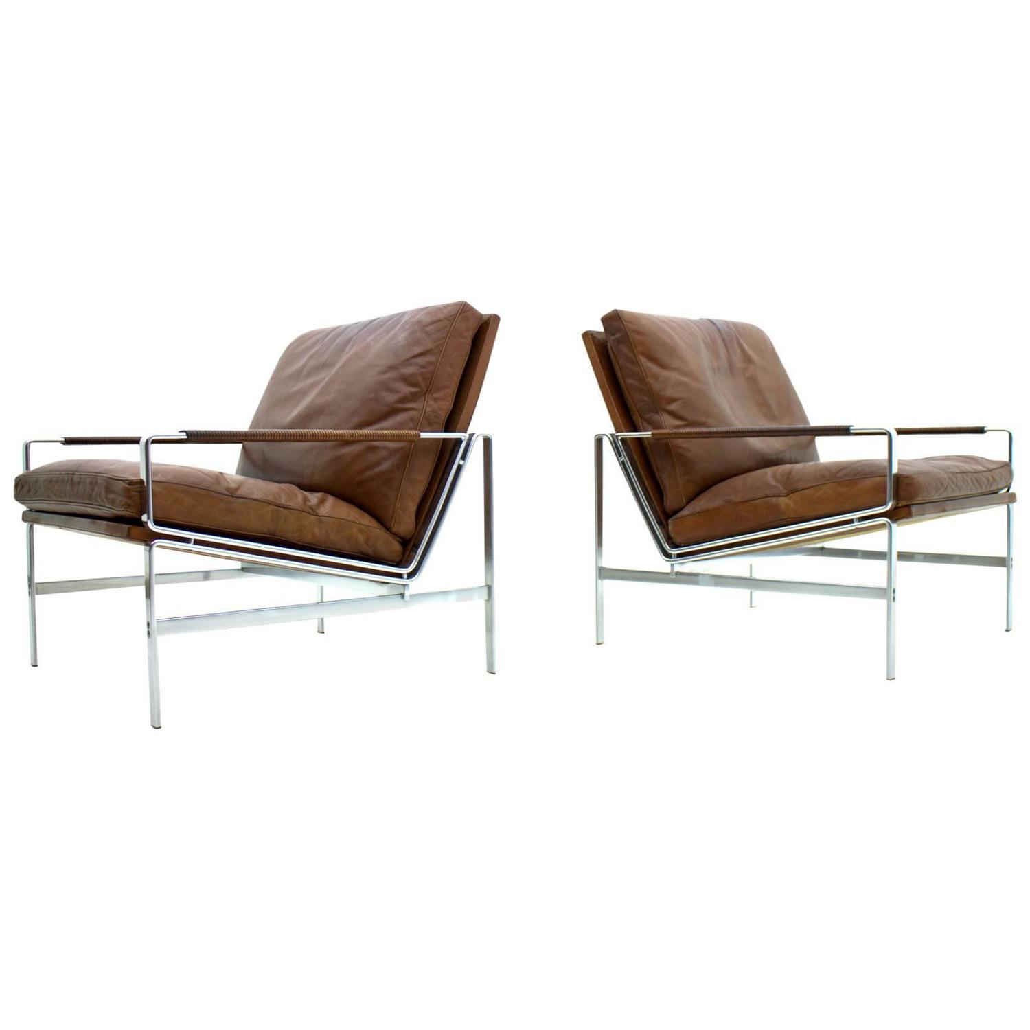 steel lounge chair vintage bamboo chairs pair of leather and by fabricius kastholm fk 6720 at 1stdibs