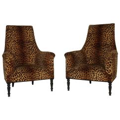 Cheetah Print Folding Chair Oversized Camping Chairs Pair Of Napoleon Iii Leopard Club At 1stdibs