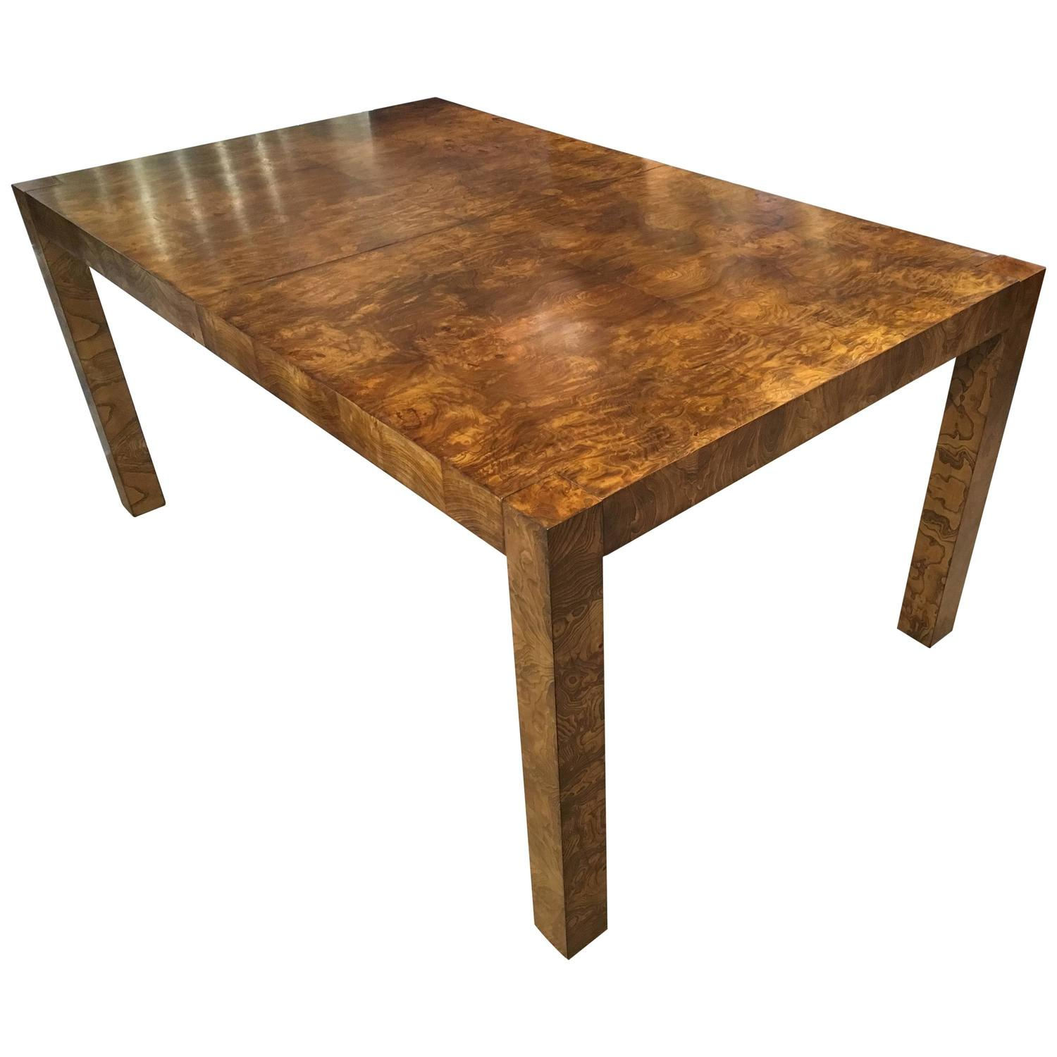 Stunning Milo Baughman Burl Dining Table at 1stdibs