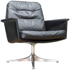 Black Leather Swivel Lounge Chair Target Gaming By Horst Bruning For Cor