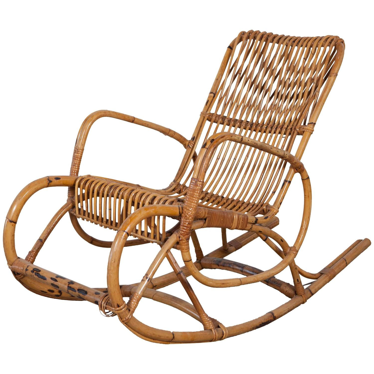 Rockin Chairs Vintage Italian Bamboo Rocking Chair With Square Arms For