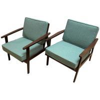 Pair of 1950s Japanese Mid-Century Modern Upholstered ...