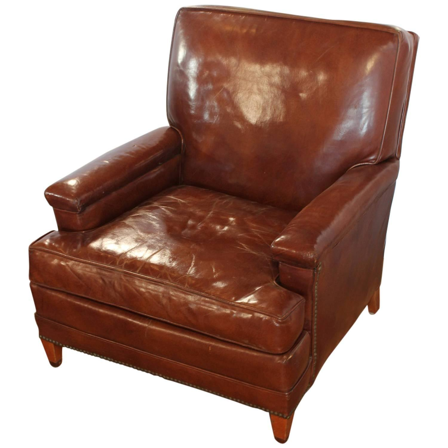Antique Leather Club Chair at 1stdibs