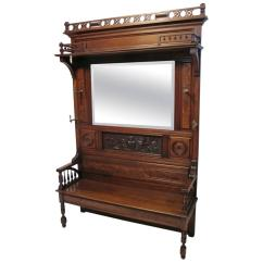 Desk Chair Utm Hair Dryer With Large Victorian Walnut Hall Bench Coat Rack At 1stdibs