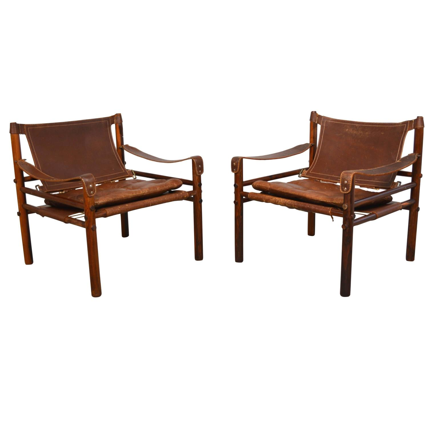 Safari Chair Pair Of Arne Norell Quotsirocco Quot Leather Safari Chairs At 1stdibs