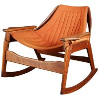 Rare Jerry Johnson Midcentury Walnut Rocking Chair For ...