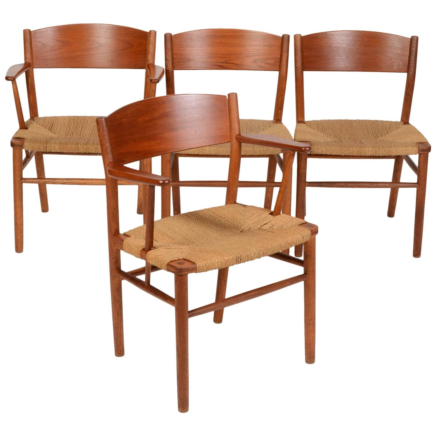 Seagrass Dining Chair Set Of Four Børge Mogensen Seagrass Dining Chairs