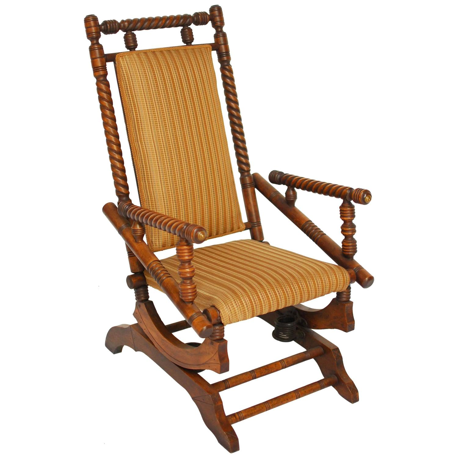 antique platform rocking chair with springs padded office hunzinger style rocker for sale at 1stdibs
