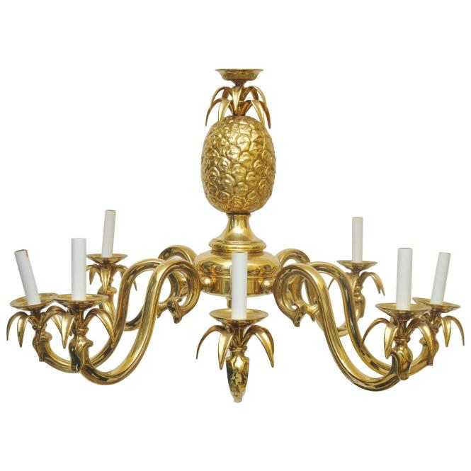 Large Scale Solid Brass Pinele Chandelier
