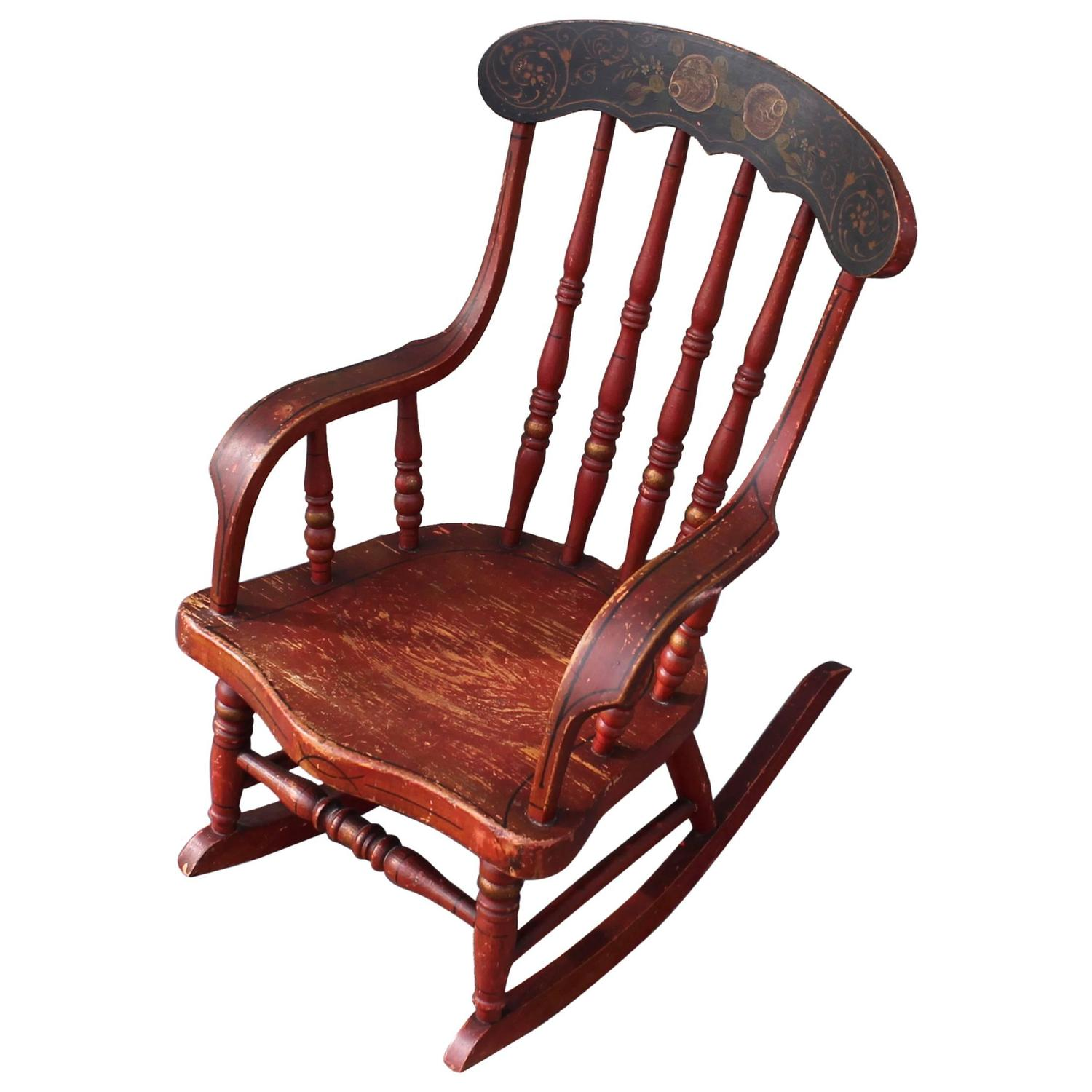 Red Rocking Chair 19th Century Original Red Paint Decorated Child 39s Rocking