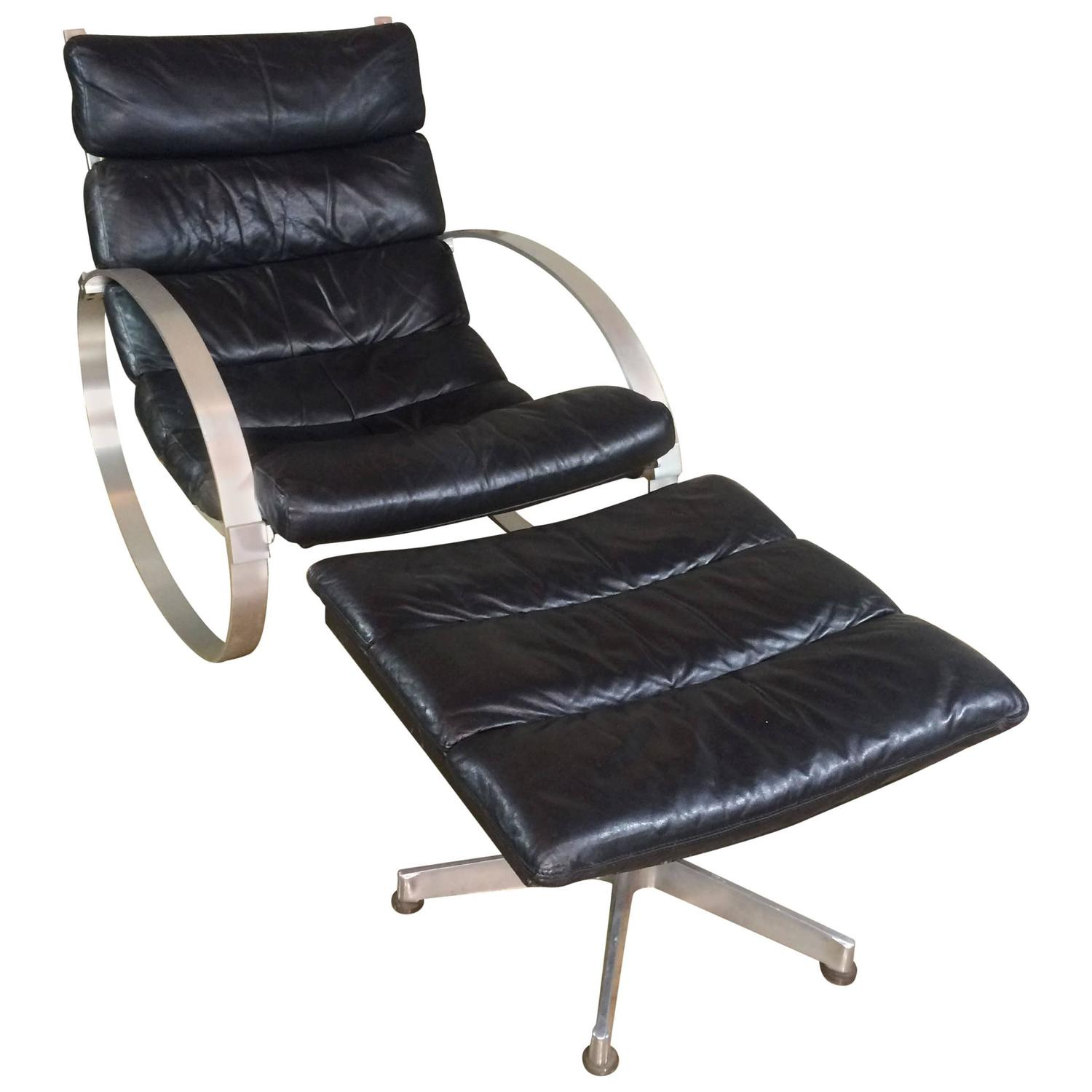 rocking chair with footstool india recliner sofa hans kaufeld leather and ottoman for sale at