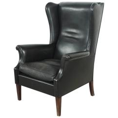 Leather Wingback Chairs Younger Swivel Chair Italian Black High At 1stdibs