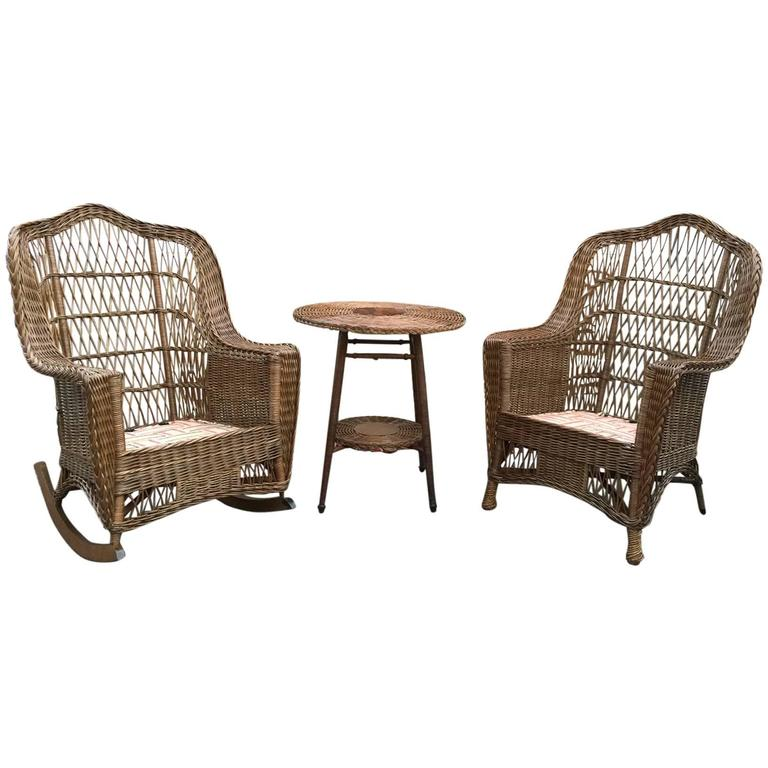 heywood wakefield wicker chairs air bean bag chair antique and rocker at 1stdibs for sale