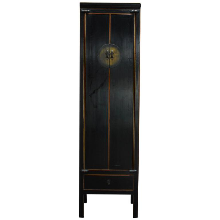Chinese Tall Black Lacquer Cabinet at 1stdibs