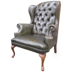Leather Wingback Chairs Slipcover Dining Chair Queen Anne Tufted At 1stdibs