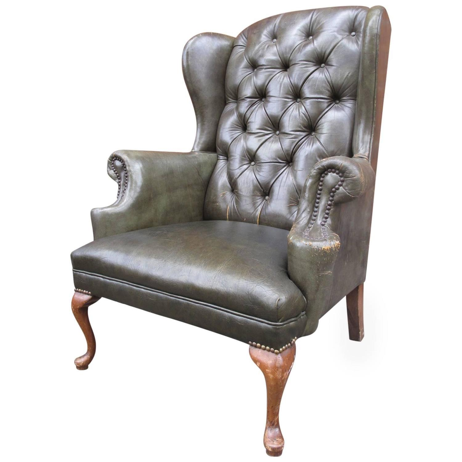 Queen Anne Wingback Chair Queen Anne Tufted Leather Wingback Chair At 1stdibs