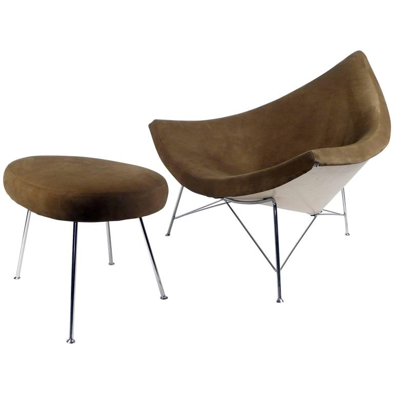 Coconut Chair and Ottoman by George Nelson 1955 brown