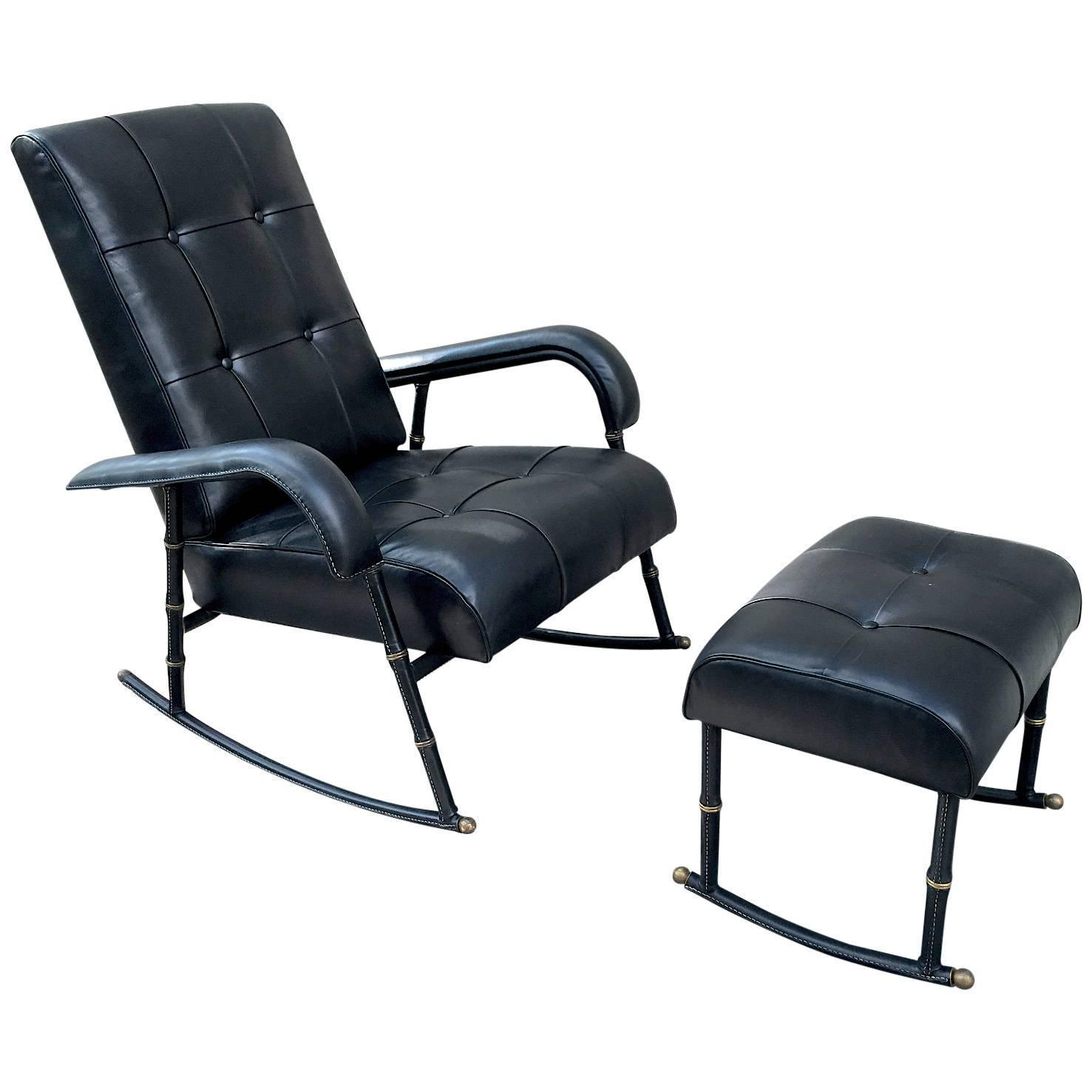 rocking chair with footstool india folding walmart jacques adnet rare and in black