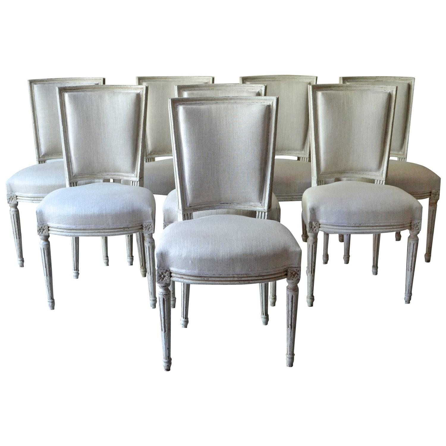 french white dining chairs body built set of eight painted at 1stdibs