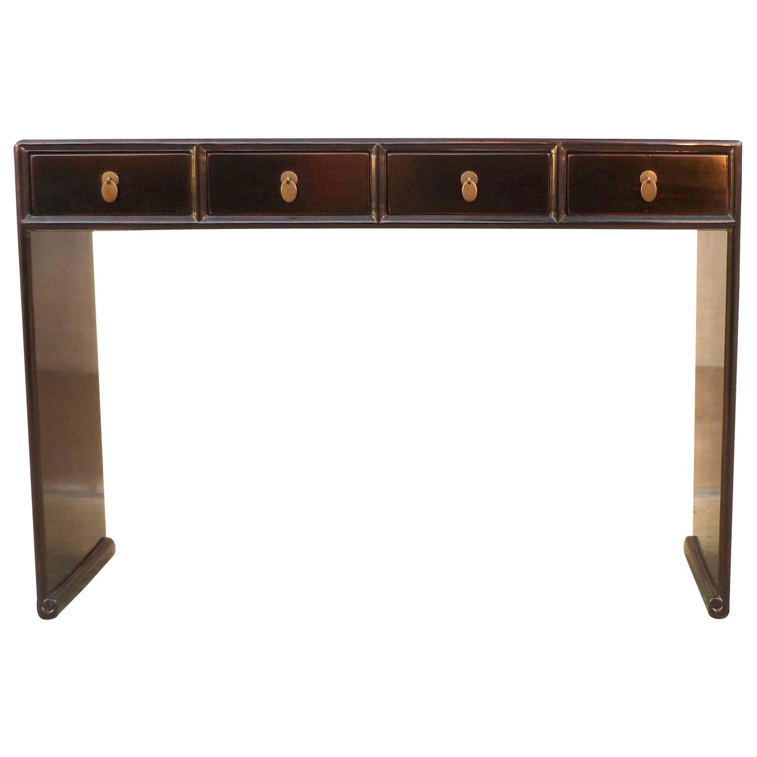 black lacquer sofa table ralph lauren fabric fine console with four drawers at 1stdibs
