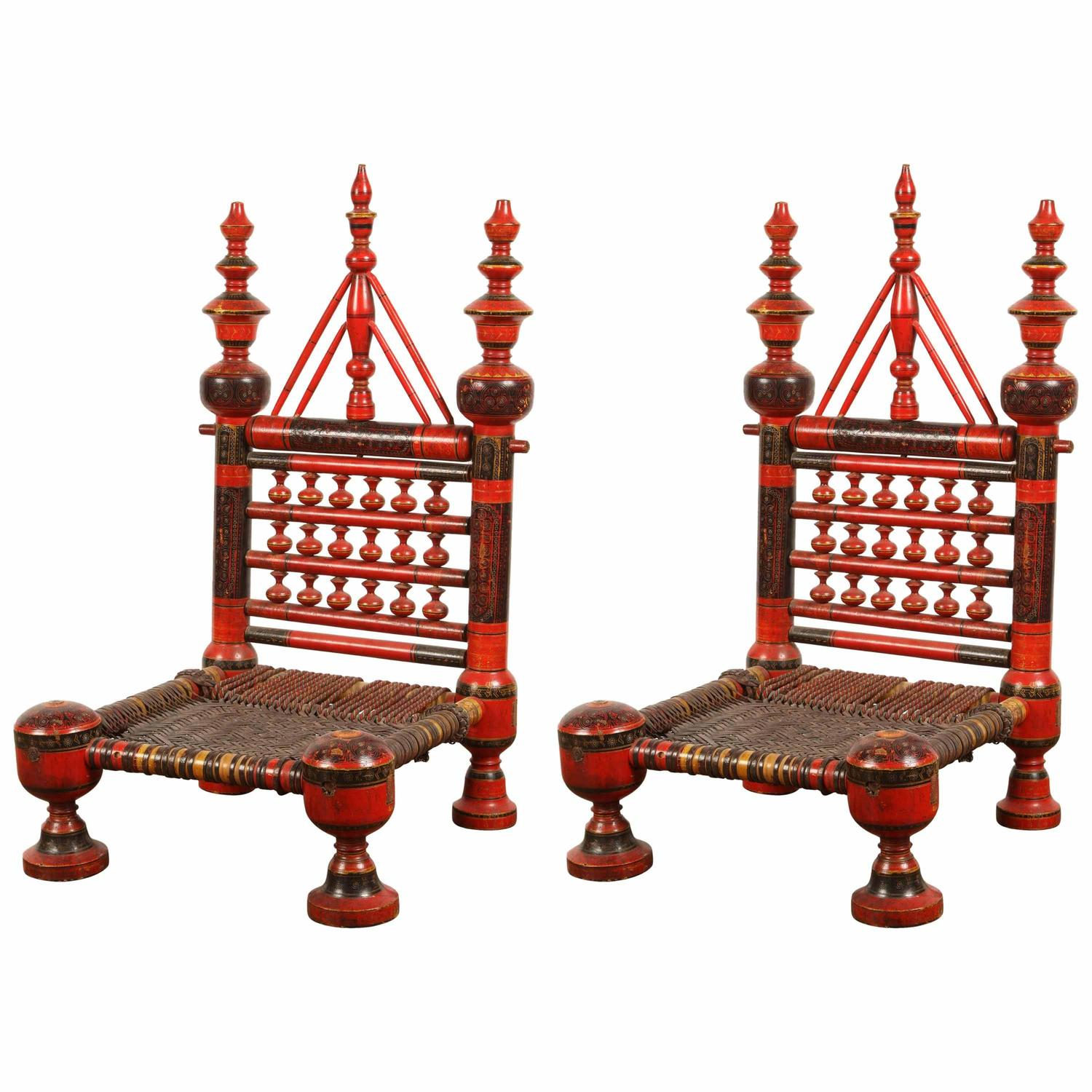 stool chair price in pakistan posture seat wedge pair of pakistani painted chairs for sale at 1stdibs