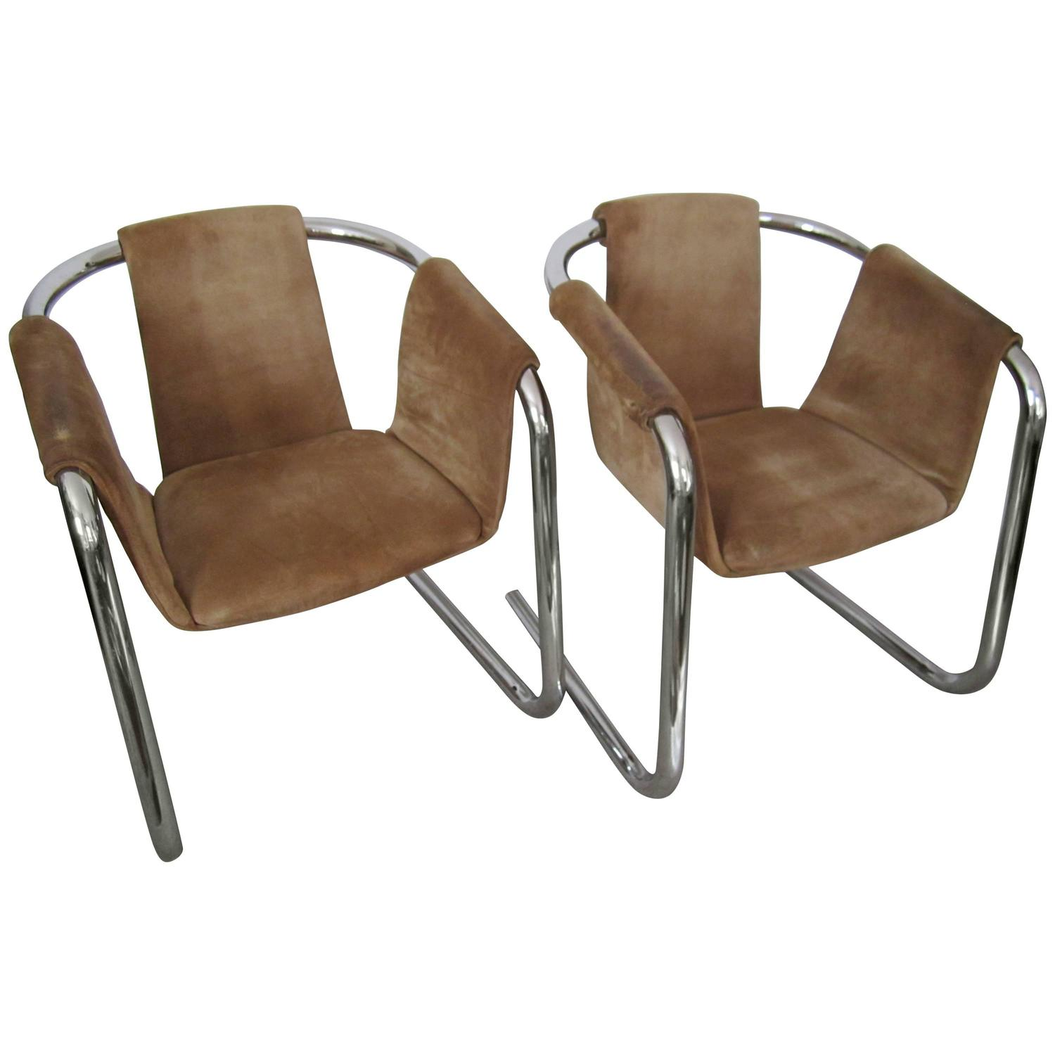 sling chairs for sale ergonomic chair home office vintage modern tubular chrome suede arm cantilever