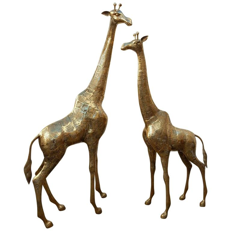 Hollywood Regency Pair Brass Giraffe Floor Sculptures