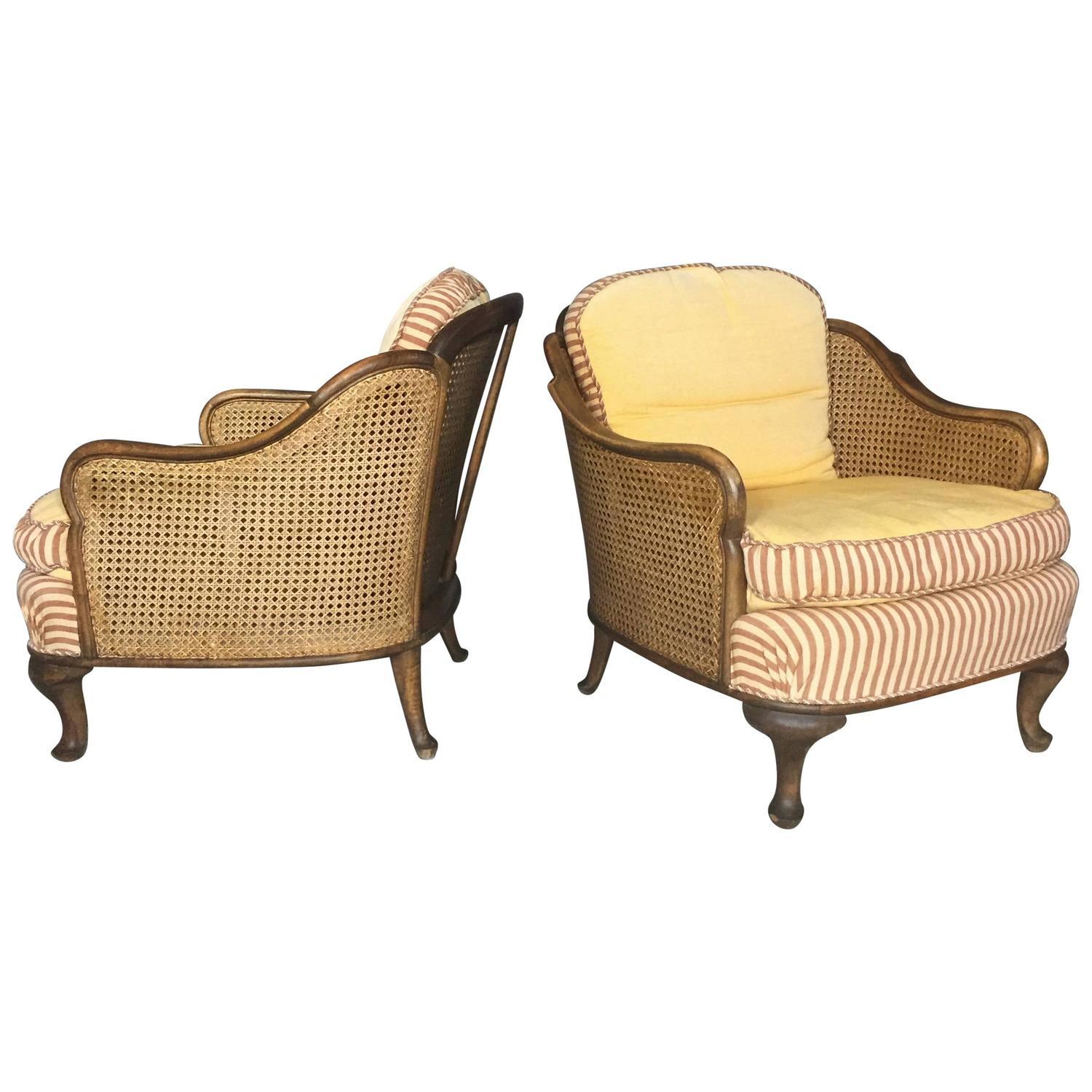 1930 cane back sofa eco friendly australia pair of bergere tub chairs walnut and sweden 1930s
