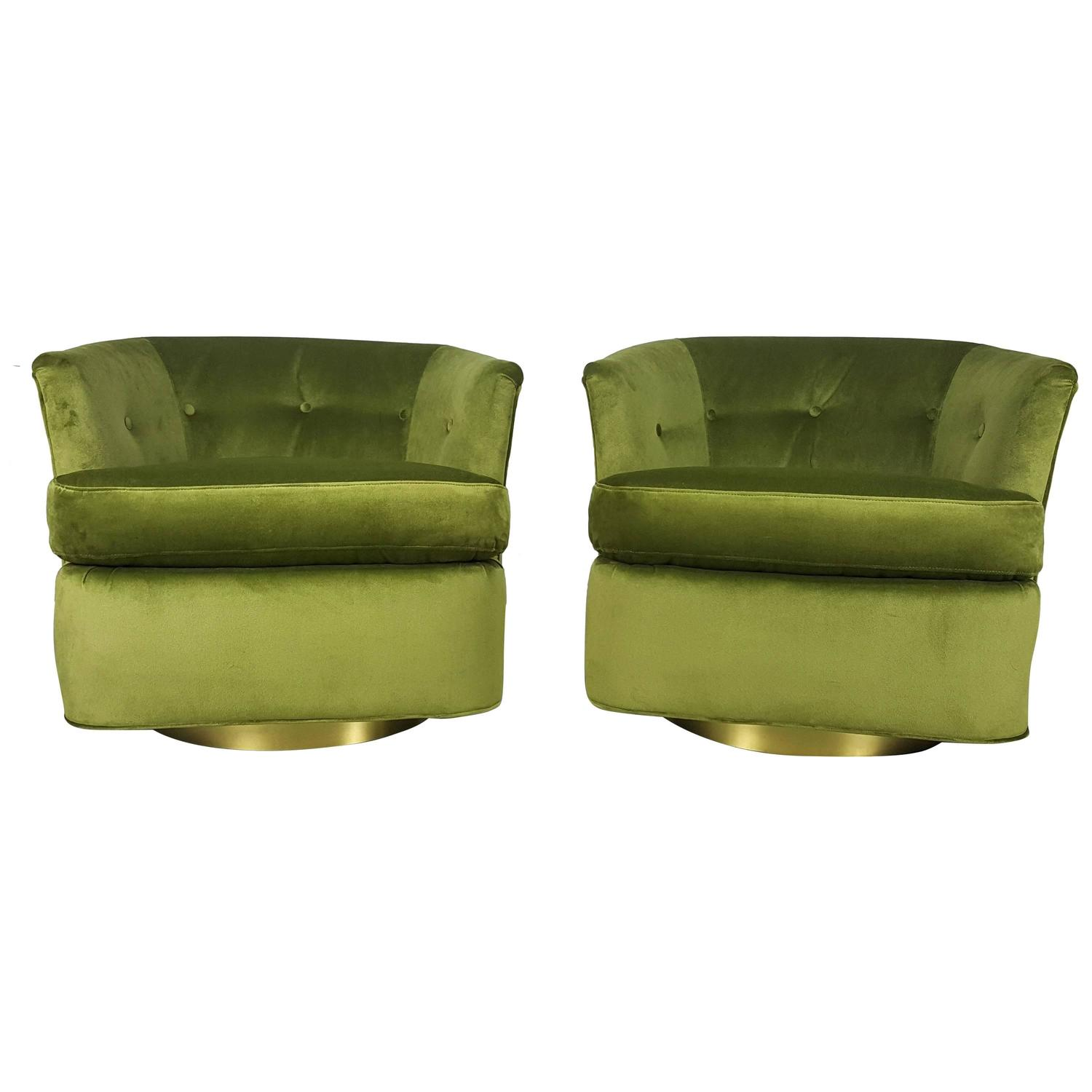 green velvet swivel chair palm springs yellow upholstery accent lounge chairs in with polished bronze