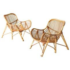 Wicker Lounge Chair Toddler Saucer Canada Danish Bamboo And Chairs By Laurids Lonborg