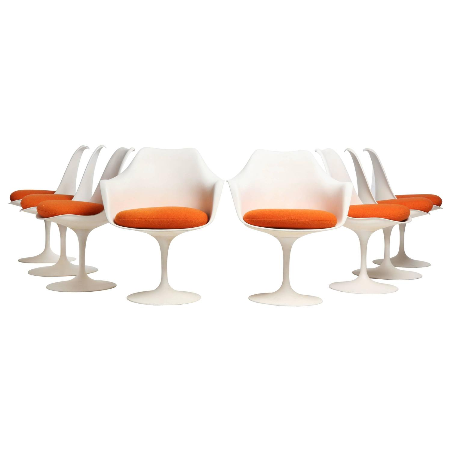 tulip dining room chairs chair sets of 4 by eero saarinen for sale at 1stdibs